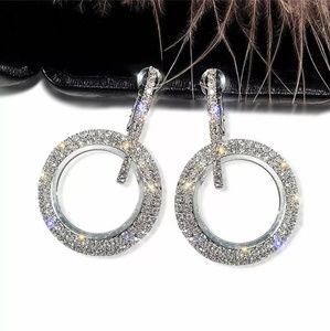 🆕️ Silver Sparkly Diamond Hoops 😍